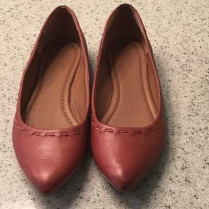 Frye brown leather pointed toe flats, EUC